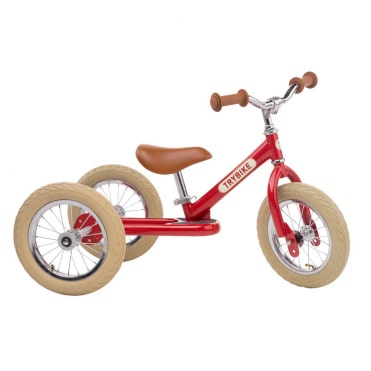 Trybike Steel 2 in 1 Balance Bike Red Vintage