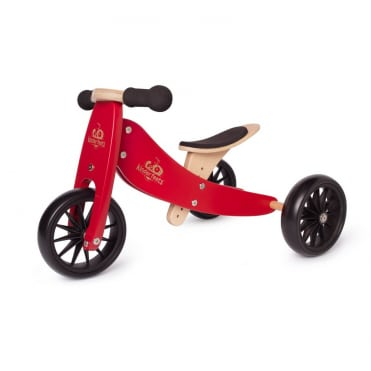 Kinderfeets Tiny Tot Trike 2 in 1 Balance Bike Cherry Red